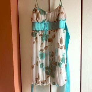 Trixxi teal white and brown dress